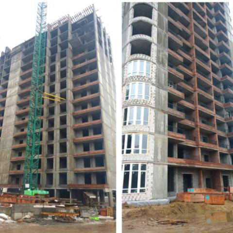 Ход строительства ЖК Медовый: начался монтаж лифтов