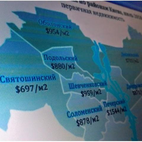 Инфографика цен на новостройки в Киеве по районам в июле в долларах