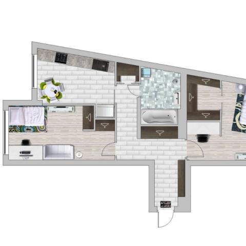 Комфорт и эргономика: незначительная перепланировка двухкомнатной квартиры в ЖК Park Town