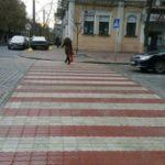 На улице Владимирской обустроили пешеходный переход из цветной брусчатки