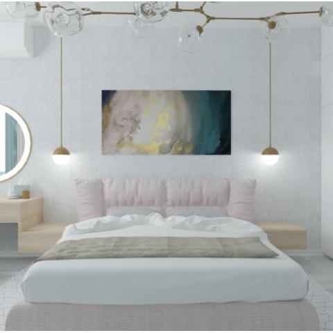 Нежный дизайн в прохладных тонах: интерьер двухкомнатной квартиры в ЖК «Лыбидь»