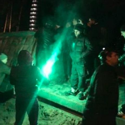 Очередная стычка местных жителей с охраной стройки в Киеве