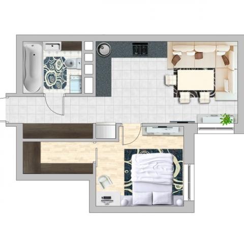 Перепланировка однокомнатной квартиры в ЖК Seven: ищем дополнительные функции