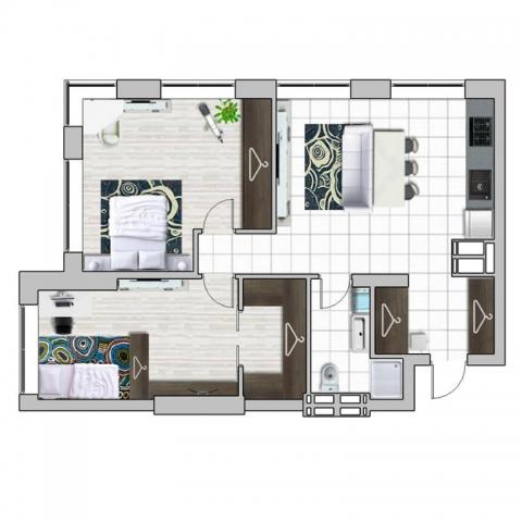 Перепланировка двухкомнатной квартиры в ЖК Edeldorf